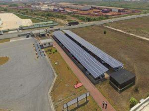 solar car park in Ghana from sky